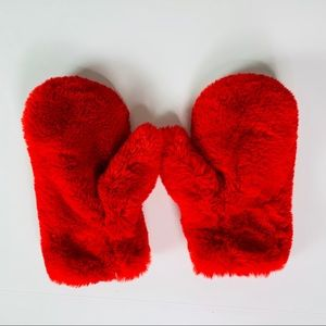 Accessories - Mittens Gloves Plush Bright Red
